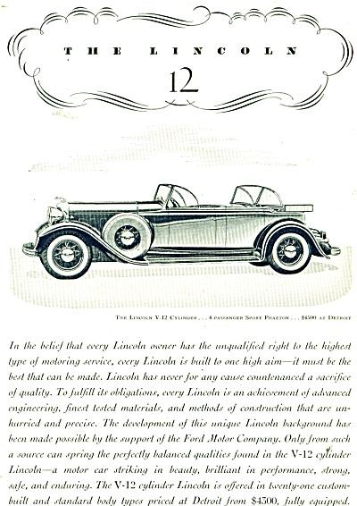 1932 Ford LINCOLN Promo CAR AD Sport Phaeton (Image1)