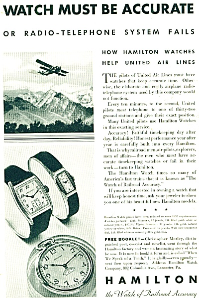 Hamilton Watches ad - 1932 (Image1)