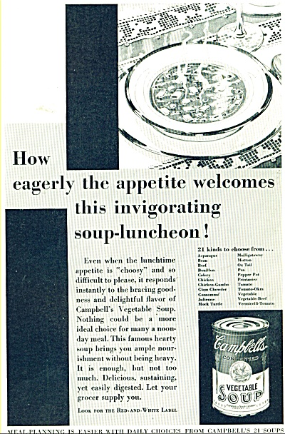 Campbell's Vegetable soup ad  1932 Eagerly The Appetite (Image1)