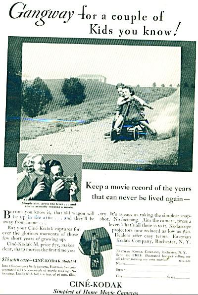 1932 Cine-Kodak cameras ad - KIDS DOWNHILL on WAGON (Image1)