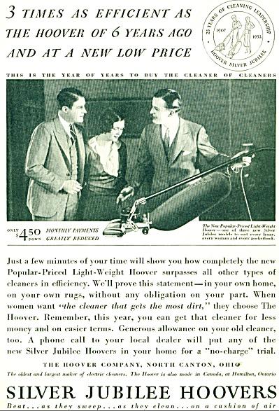 1932 Silver Jubilee HOOVER Vacuum AD (Image1)