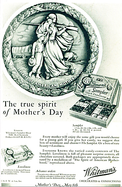 1932 WHITMAN CANDY AD ARTIST ARTWORK Mother w/ GUN (Image1)