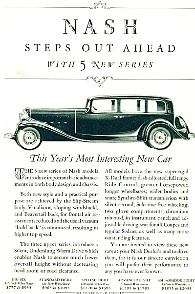 1932 NASH Automobile Car AD RARE w/ Prices (Image1)