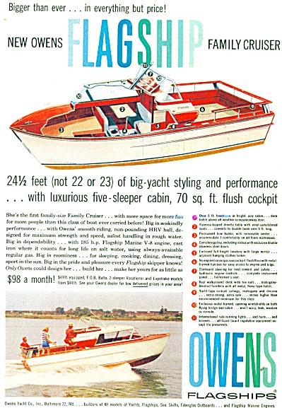 195 OWENS Flaship CABIN CRUISER BOAT AD (Image1)