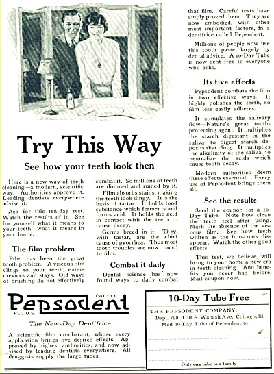 Pepsodent Tooth Paste Ad - 1921