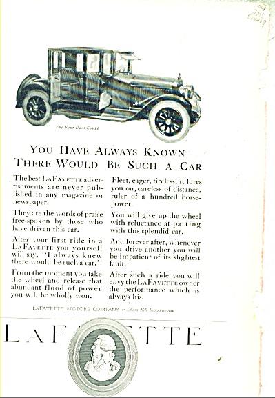 1921 AD LaFayette CAR ~ Four Door Coupe Lafayatte Motor (Image1)