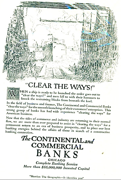 1921 Continental  commercial Bank AD BALL ART (Image1)