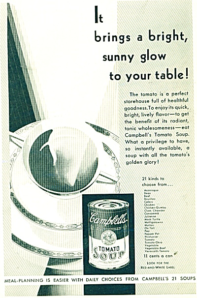 Campbell's Tomato soup ad - 1932 Bright Sunny Glow (Image1)