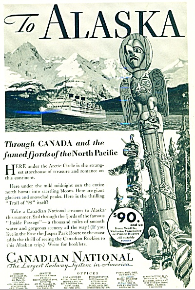 Canadian National railway ad - 1932 ALASKA (Image1)