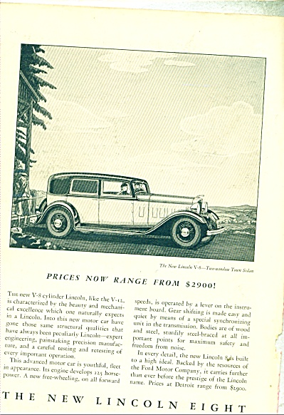 1932 Ford LINCOLN Promo CAR AD COOL ARTWORK V8 (Image1)