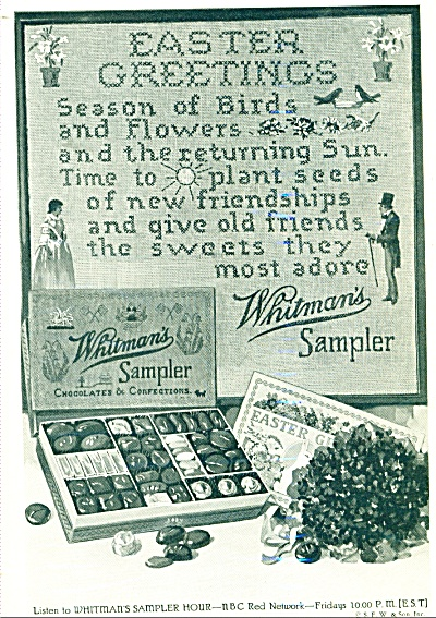 1932 Whitman's Sampler Candy Ad Easter