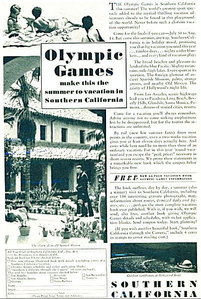 1932 Southern California Olympic Games Ad