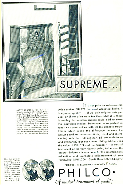 Philco Supreme Radio Ad - 1932