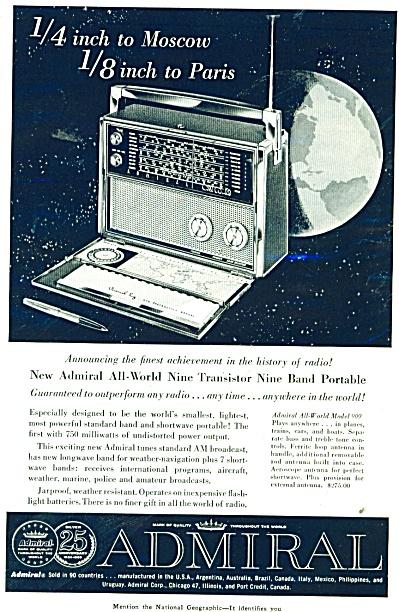 Admiral Radio ad - 1959 (Image1)
