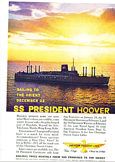 1959 Ss President Hoover American Lines Orient