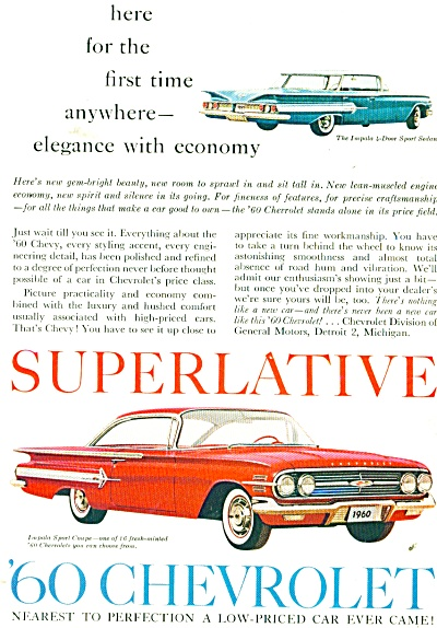 1960 Impala Chevy Sports Coupe Superlative Ad