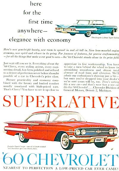 1960 Impala CHEVY Sports Coupe Superlative Ad (Image1)