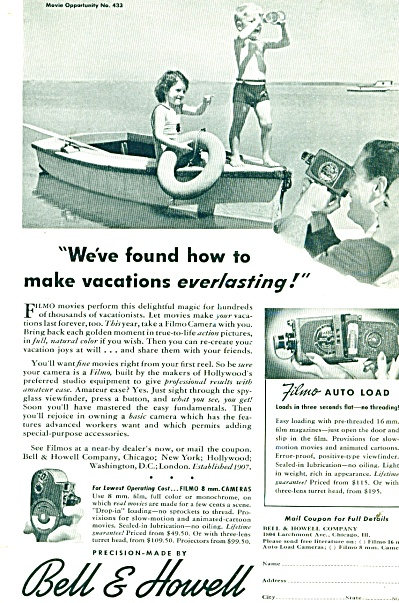 1941 Bell & Howell CAMERA AD Little Boy SWIM (Image1)