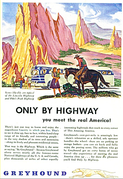 1946 Greyhound BUS LINES AD Pikes Peak ART (Image1)