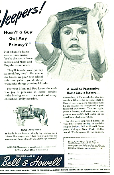 1946 Bell & Howell Home MOVIE CAMERA AD JEEPE (Image1)