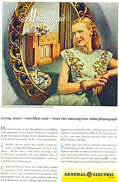 General Electric Radio-phonograph Ad - 1946
