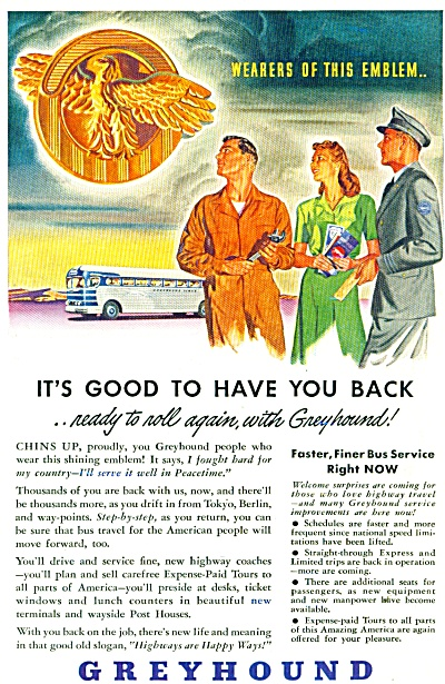 1945 Greyhound Bus AD SOLDIER COMES HOME (Image1)