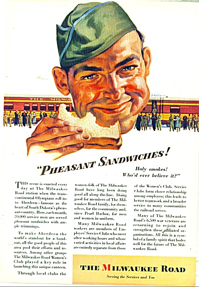 1945 Milwaukee Road TRAIN Railroad AD SKIBO A (Image1)