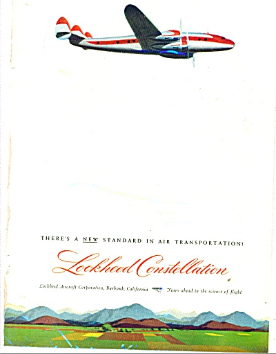 1945 Lockheed Aircraft Ad Constellation