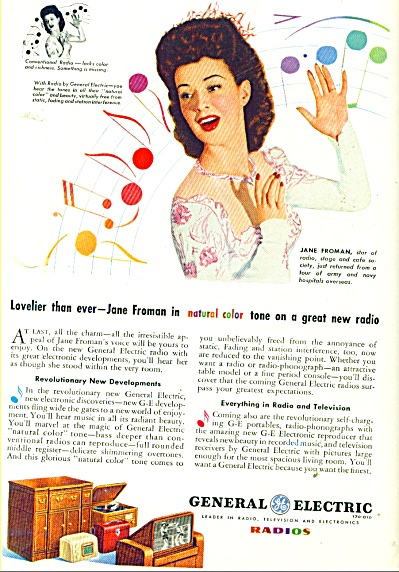General Electric Radio Ad - 1945 Jane Froman