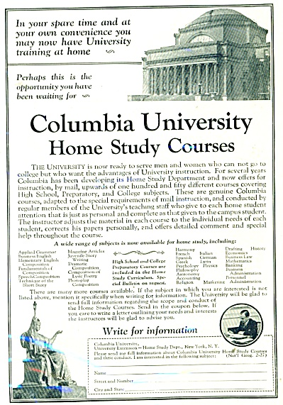 Columbia University Home Study courses ad (Image1)