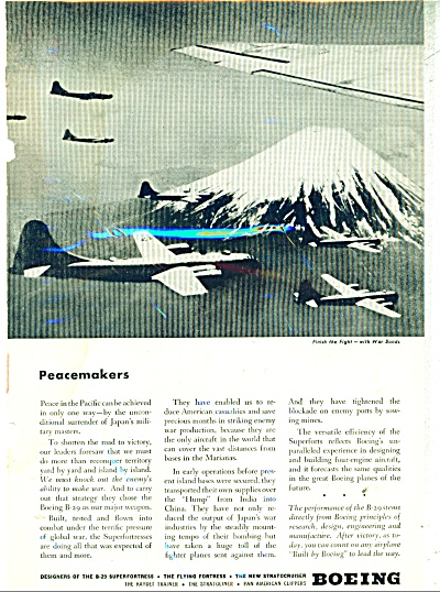 1945 BOEING AIRCRAFT B-29 FLYING FORTRESS AD (Image1)