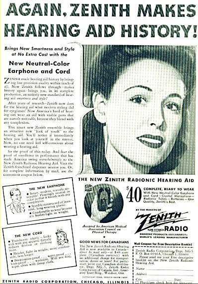 1944 Zenith Radio radionic hearing aid AD (Image1)