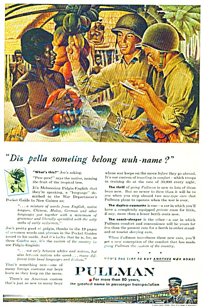 1944 PULLMAN Train AD Soldiers - Black Native (Image1)