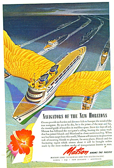 Matson And The Lands Beyond 1944 Art Deco Ad