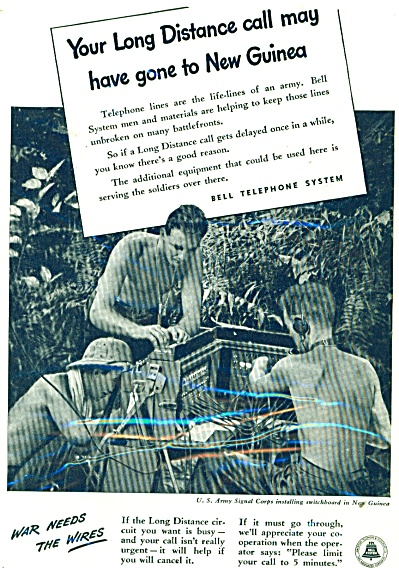Bell telephone system ad 1944 U.S. ARMY SIGNAL CORPS (Image1)