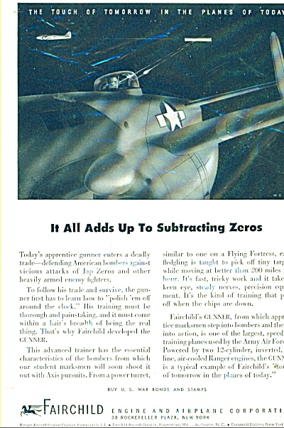1944 FIGHTING JAPS Fairchild Engine Airplane AD (Image1)