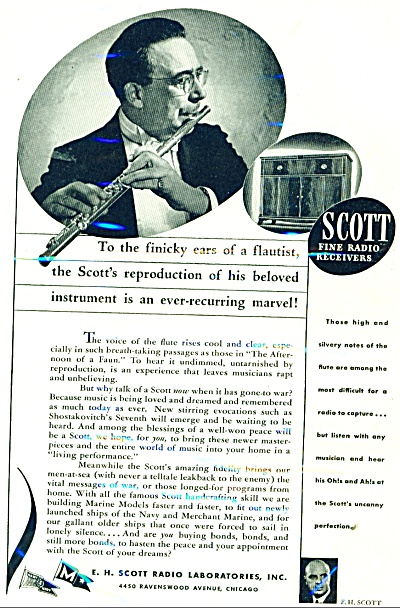 1944 Scott Radio Laboratories, Ad Flautist