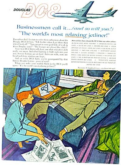 1960 Douglas DC8 jetliner ad ARTIST ART SIP (Image1)