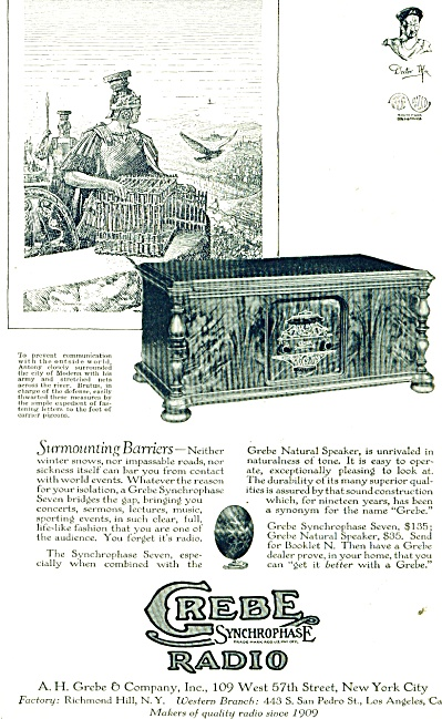 Grebe synchrophase radio  ad - 1928 (Image1)