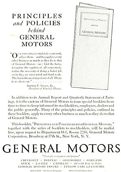 General Motors principles and policies ad - (Image1)
