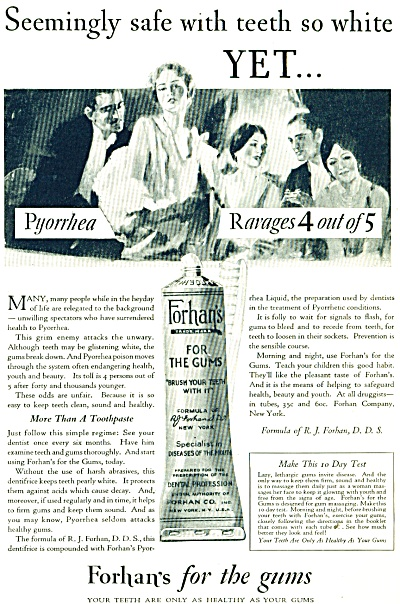 1928 Forhan's for the gums ad - Vintage ART (Image1)