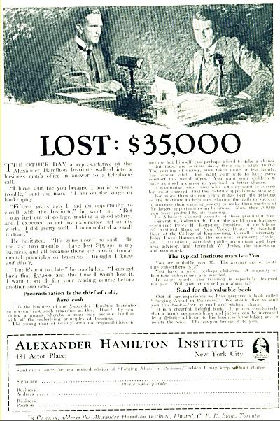 AlexanderHamilton Institute ad- 1928 (Image1)