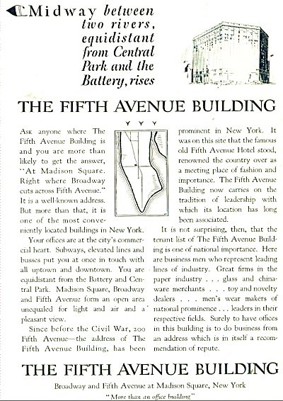 The Fifth Avenue Building ad - 1928 (Image1)