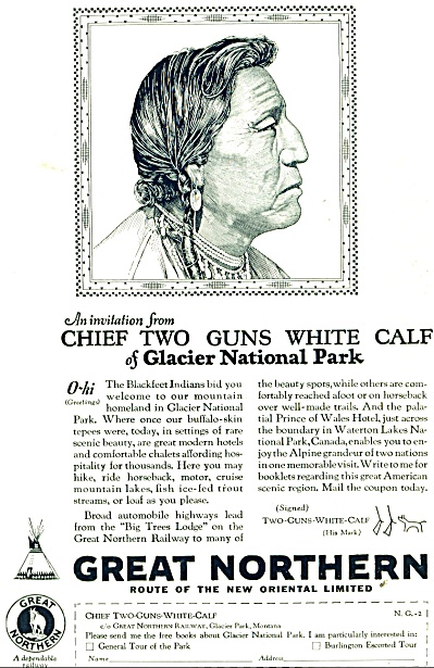 1928 Great Northern Railway AD Chief Two Guns (Image1)