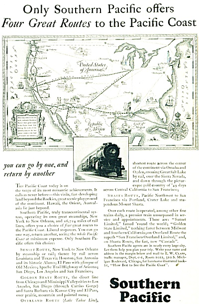 1928 Southern Pacific Railroad AD Train MAP (Image1)