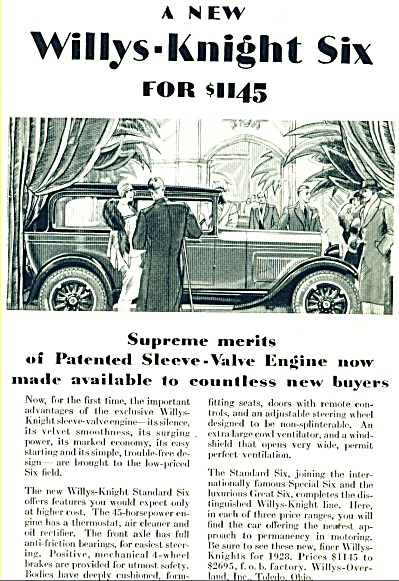 Wil;lys- Knight Six Automobile Ad - 1928