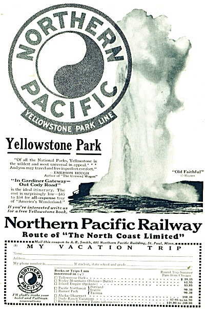 Northern Pacific Railway ad - 1928 (Image1)