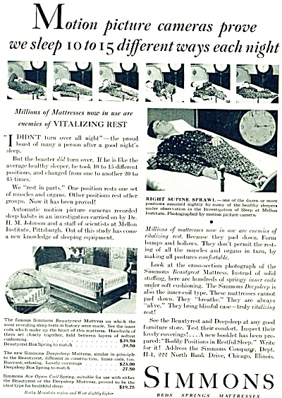 Simmons beds - springs - mattresses ad -1931 (Image1)