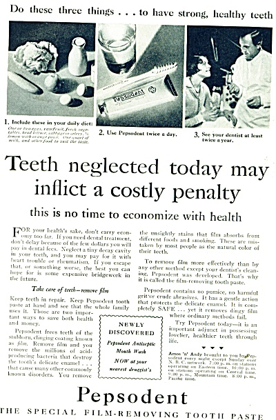 Pepsodent tooth paste ad - 1931 (Image1)