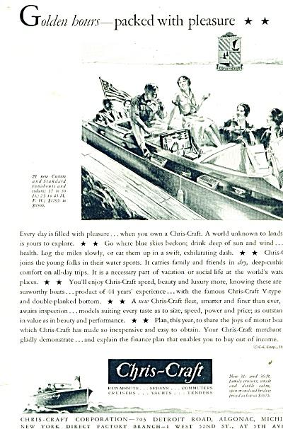 1931 CHRIS CRAFT Boat AD Vintage ART (Image1)